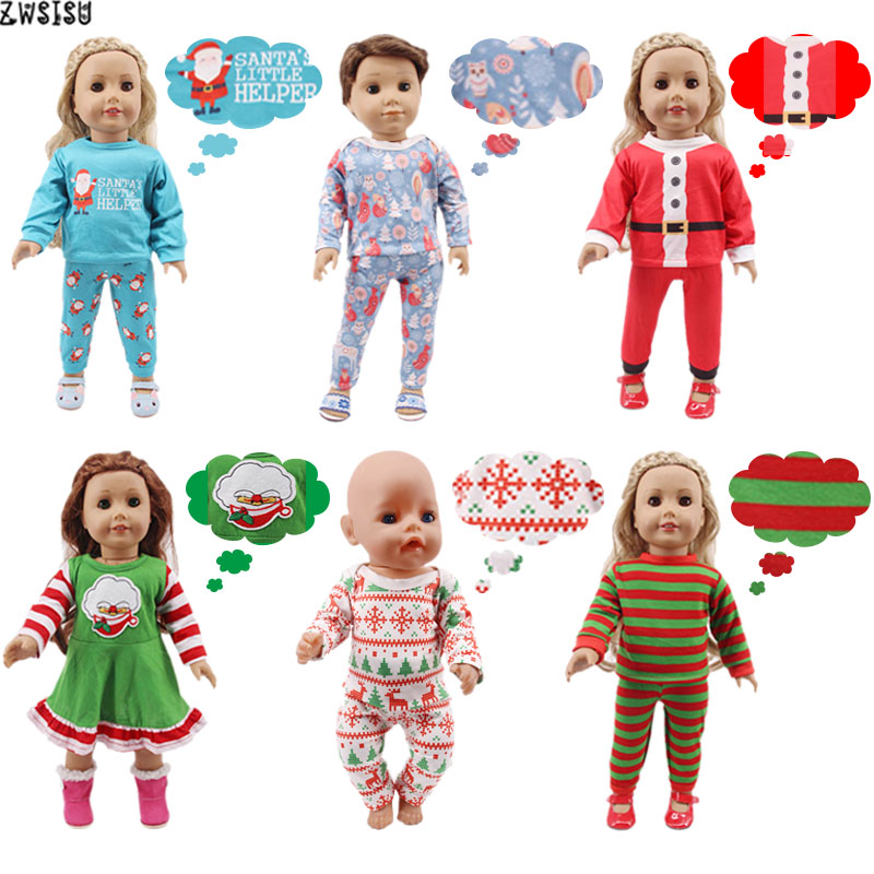Doll Pajamas 2 Pcs Christmas Designs Nightgowns For 18 Inch American&43 Cm Born Logan Boy Doll Generation Girl`s Toy Santa Claus