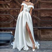 Элегантное однотонное Белое Женское летнее длинное платье однобортное