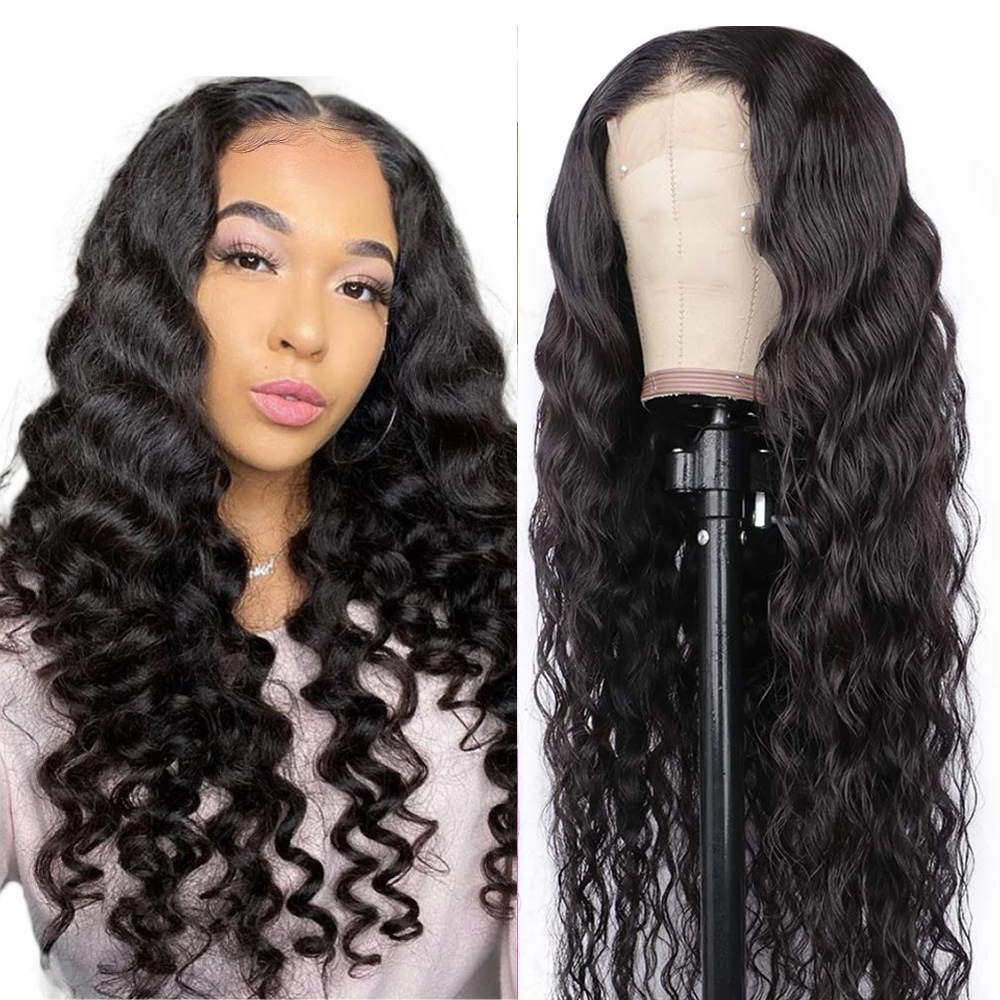 Brazil 180 Density 4x4 Loose Wave Wig Short Curly Lace Closure Human Hair Wigs For Black Women Closure Brazilian Wig