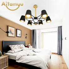 Lustre Wooden Chandelier For Living Room Iron Lampshade LED Chandelier Lighting Lustres Para Sala De Jantar Home Lamp brown modern led chandelier for living room bedroom chandelier lighting luminaria lustre lampadario lustres para sala de jantar