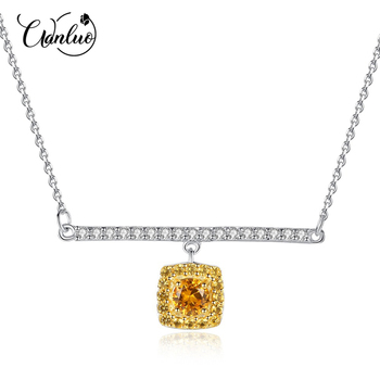 WANLUO Real 925 Sterling Silver Link Chain Necklace&Pendant Citrine Golden Necklaces Fasinating Fine Jewelry Colar Feminino 2019 image