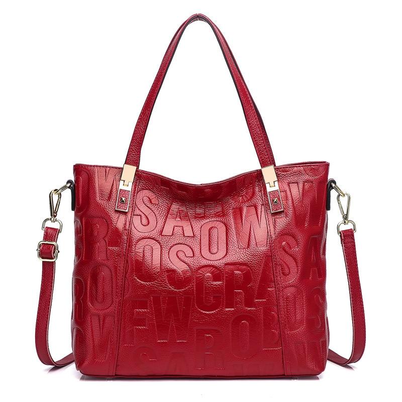 Noir rouge en cuir véritable femmes sac à bandoulière grande capacité Shopping fourre-tout sac à main lettre motif bandoulière sacs de messager