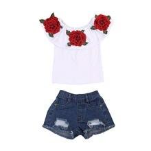 Топы с цветами футболки джинсовые Горячие шорты наряды одежда