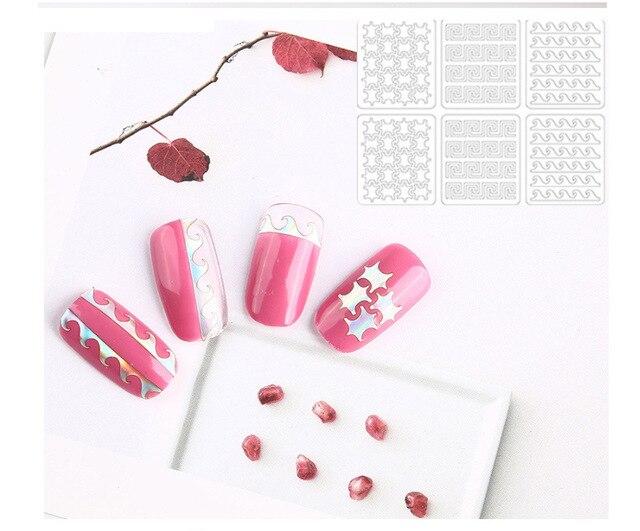 Купить 6/12/24 шт полые наклейки для ногтей 3d полые модные самоклеящиеся картинки цена