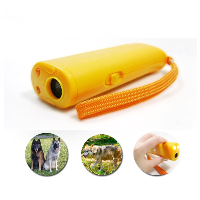 Self Defense Supplies Ultrasonic Dog Chaser Stop Animal Attacks Personal Defense Pet Dog Training LED Flashlight (No Battery)