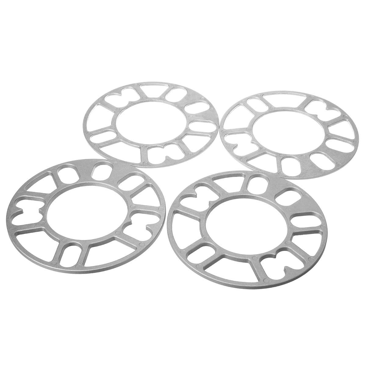 Universal 4pcs 3mm 5mm Alloy <font><b>Wheel</b></font> <font><b>Spacers</b></font> Adaptor Shims Plate 4/5 Stud Silver 4x100 4x108 4x114.3 5x100 5x108 5x112 <font><b>5x114.3</b></font> image