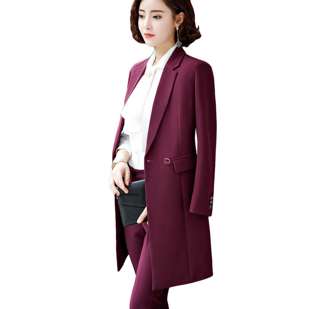 2019 New Winter Women Long Blazer Elegant Long Sleeve Formal  For Office Lady Black Blue Red