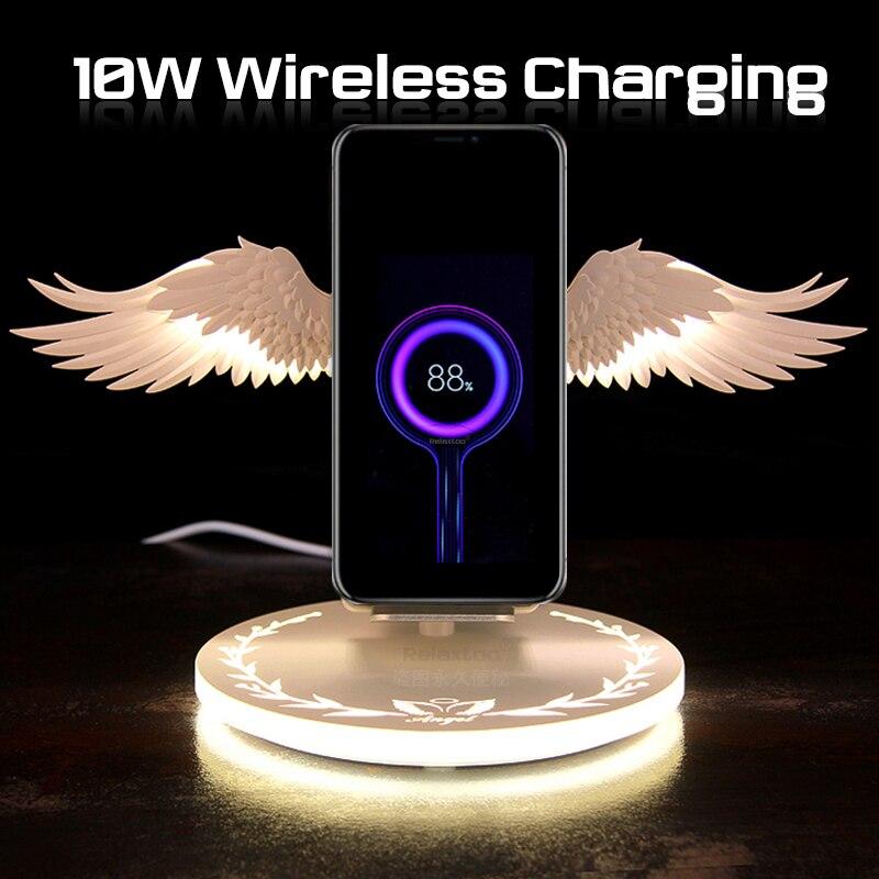10W Carregador Sem Fio Qi com Asas de Anjo Luz Da Noite USB de Carga Rápida para o iphone X XR XS Samsung S10 huawei P30 Note10 Plus Pro
