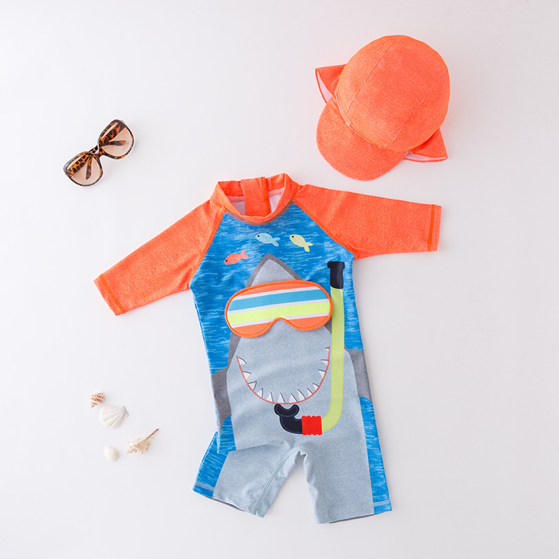 KID'S Swimwear Boys' Cotton One-piece Swimsuit Sharks Bathing Suit Children Baby Beach Coat With Cap 2 Pieces