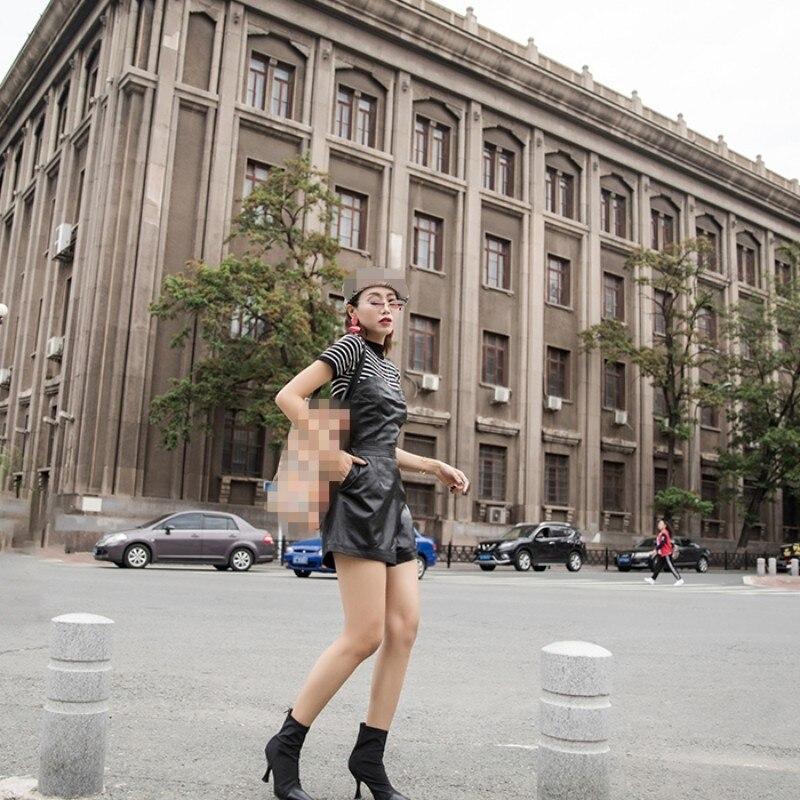 2019 Herfst Winter Nieuwe Slim Fit Real Leather Korte Jumpsuits Vrouwelijke Harajuku Schapenvacht Lederen Wijde Pijpen Speelpakjes Vrouwen - 6