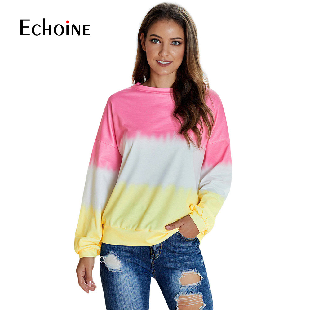 Quality Autumn Winter Casual Tie Dye  Long Sleeve Pullover Sweatshirt 2019 Color Patchwork O-neck Loose Blouse Plus Size Clothes