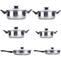 6 шт./компл. кухонная посуда из нержавеющей стали кастрюли набор с крышкой кухонный набор для готовки HWC