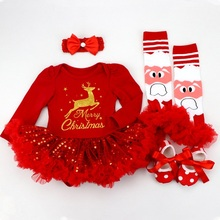 Conjunto de ropa infantil para niña, trajes con figura de venado, ropa de Boutique de Navidad para bebé, vestido de tutú rojo ostentoso, conjunto de 4 Uds. Con diadema