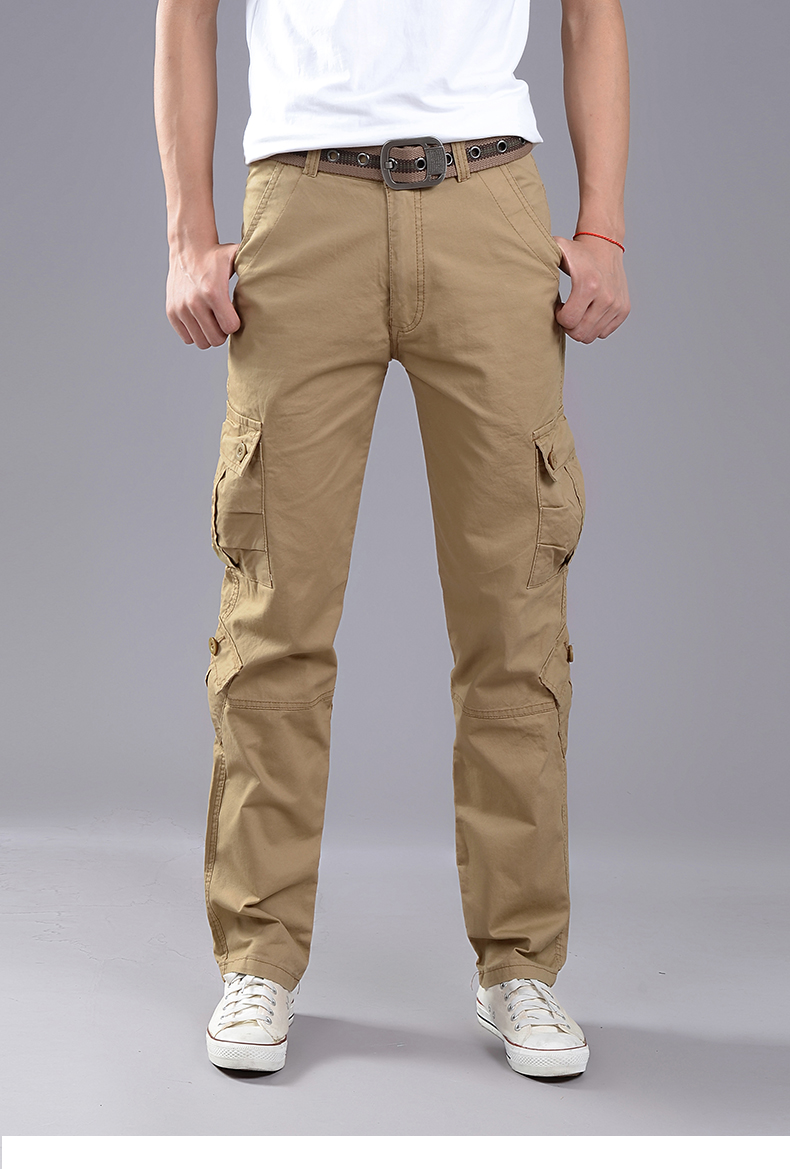 KSTUN Cargo Pants Men Combat Army Military Pants 100% Cotton 4 Colors Multi-Pockets Flexible Man Casual Trousers Overalls Plus Size 38 25