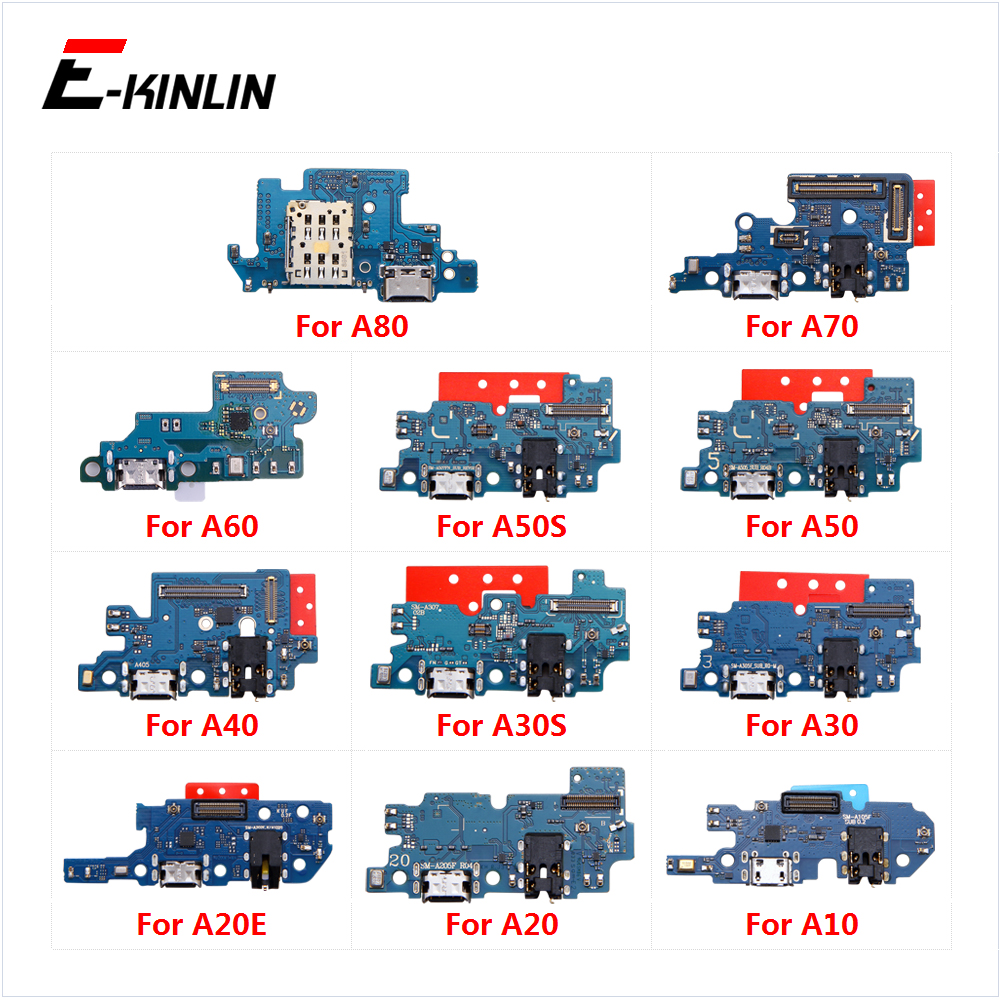 USB Charging Charger Dock Port Board Microphone Mic Flex Cable For Samsung Galaxy A80 A70 A60 A50S A50 A40 A30S A30 A20E A20 A10