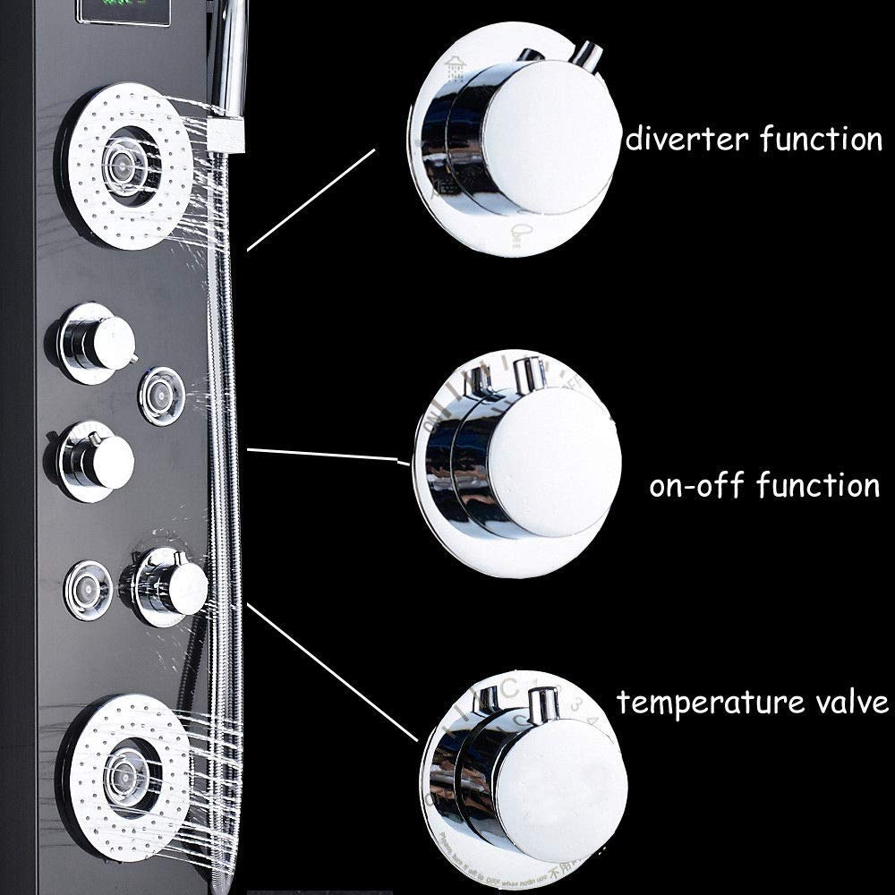 Newly-Luxury-Black-Brushed-Bathroom-Shower-Faucet-LED-Shower-Panel-Column-Bathtub-Mixer-Tap-With-Hand (3)