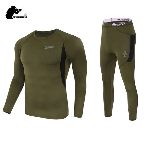 Winter Mens Thermal Underwear Suit Fleece Warm Breathable Sport Underwear Suits Men Army High Elastic Quick Drying Set AF152 Lahore