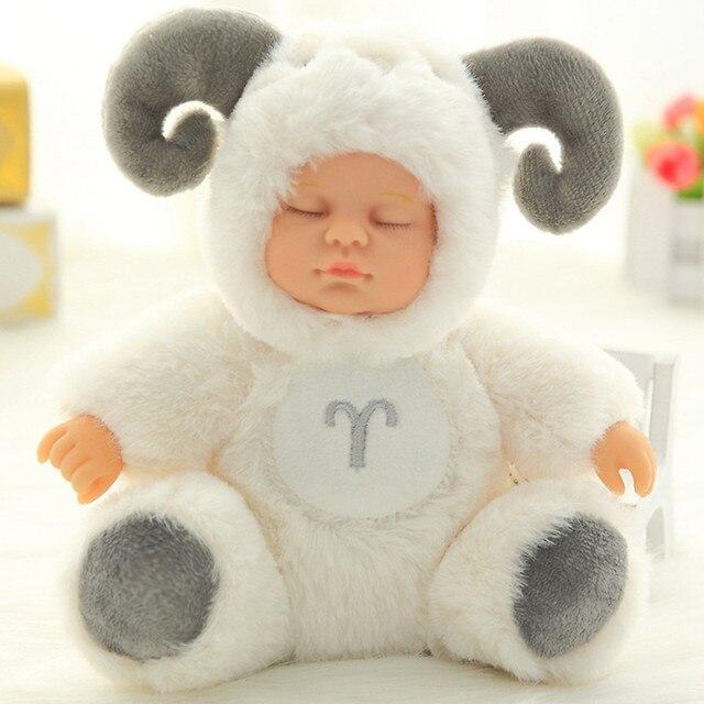 Plush Stuffed Toys Baby Doll Newborn Toy Kids Appease Sleeping Cute PVC Face Plush Animal Doll Girl Xmas Gift for Children