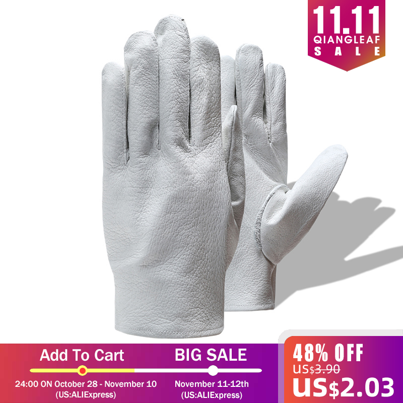 Image 5 - QIANGLEAF Brand Safety gloves D Grade White Grain mittens Leather glove Men Driver Wholesale White Gloves Free Shipping 130-in Safety Gloves from Security & Protection