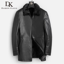 2019 DK New luxury Mink Fur Coat Men Medium Long Real Sheepskin Leather Jackets Top Quality Black Natural Leather Clothing(China)