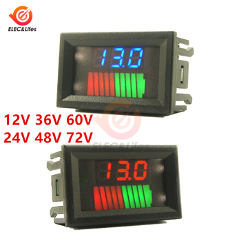10 Segment LED Voltmeter Lead Acid Battery Capacity Indicator 12/24/36/48/60/72V for Car Motorcycle Battery Capacity Tester image