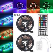 цена на 12V DC LED Strip Light 10M 3528 SMD RGB Flexible LED Light Strip RGB Green Red Blue Color 600 LEDs + 44 Key IR Remote Controller