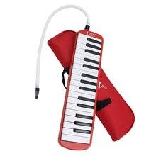 Teclado de Piano rojo de 32 teclas, instrumento Musical de viento con bolsa