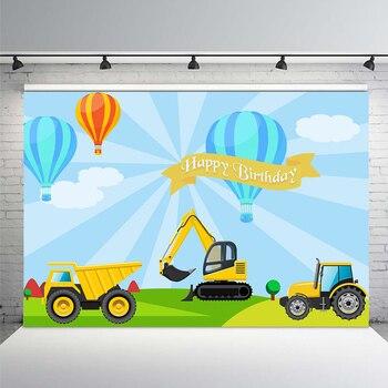 Fondo de cumpleaños en construcción excavadora Boy banderines para fiesta de cumpleaños fondo de fotografía Guidepost camión Digger telones de fondo