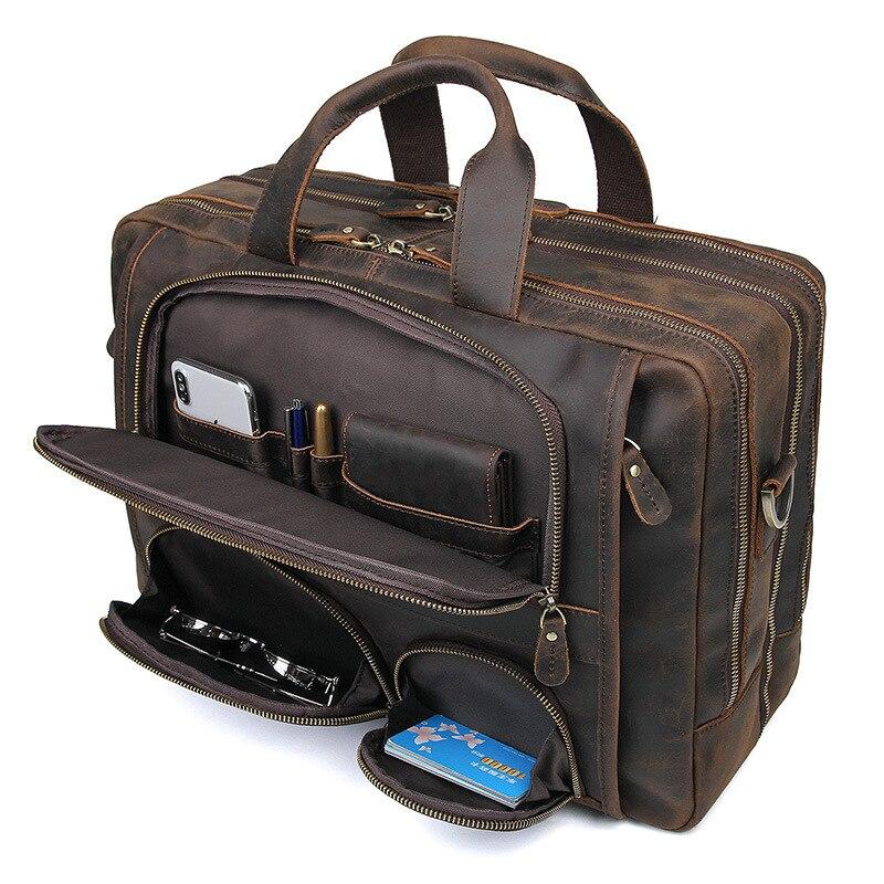 Nesitu Big Brown Genuine Crazy Horse Leather 15.6'' 17'' Laptop Office Men Briefcase Business Travel Messenger Bags Portfolio