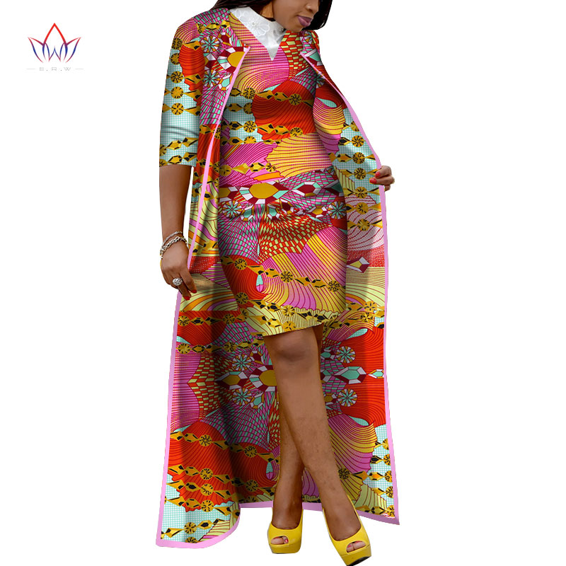 328 Autumn African Skirt Sets For Women Dashiki X-Long Coat and Skirt Africa Clothing Bazin Plus Size Women Sets WY3400