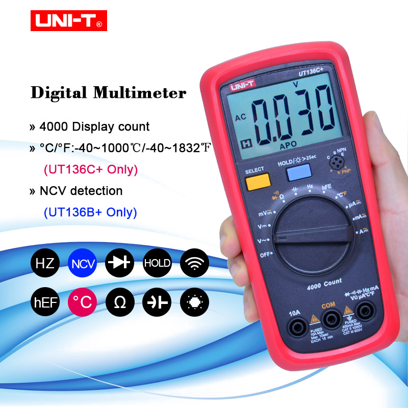 UNI-T UT136B  UT136C  Multimeter Digital multimeter tester AC DC Voltmeter Ammeter Ohm capacitance HFE Diode transistor tester