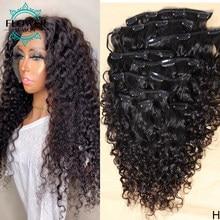 Water Wave Clip In Human Hair Extensions Remy Human Hair Brazilian Clip Ins Natural Black 8Pcs/Set 120g FlowerSeason