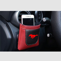 Auto Zubehör Für Ford Mustang Clip auf Air Outlet Auto Air Vent Verstauen Ordentlich Lagerung Leder Tasche Münze Tasche Fall auto Telefon Halter