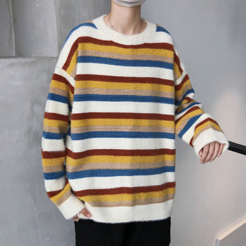 Winter Striped Sweater Men's Warm And Fashionable Casual Knit Pullover Men Streetwear Loose Knitting Sweaters Mens Clothes M-2XL men s sweaters autumn and winter clothes men s jackets sweaters warm winter clothes men s clothes sweater men mens sweaters
