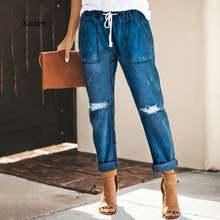 Винтажные женские джинсы для женщин в стиле бойфренд однотонные