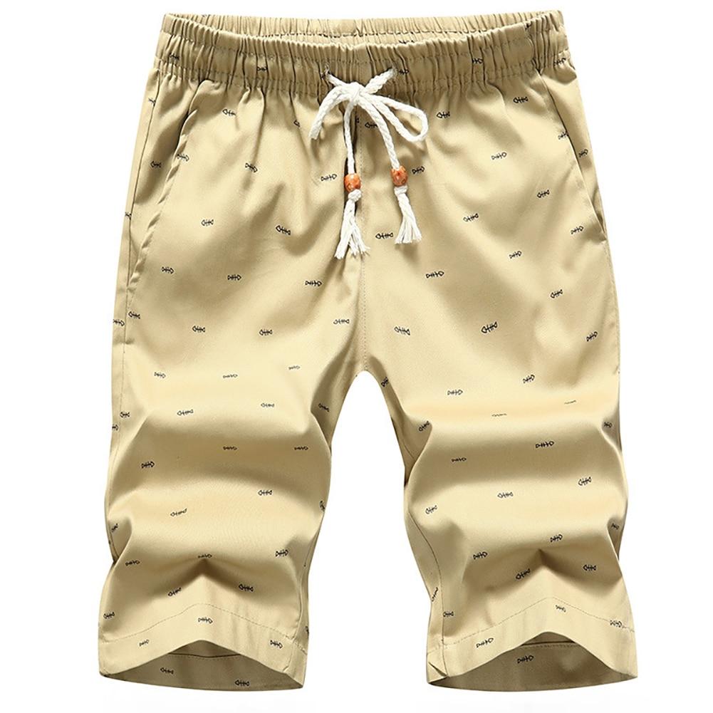 Summer Men Casual Solid Color Sport Short Pants Fishbone Print Drawstring Pockets Cotton Beach Shorts Fifth Pants 4
