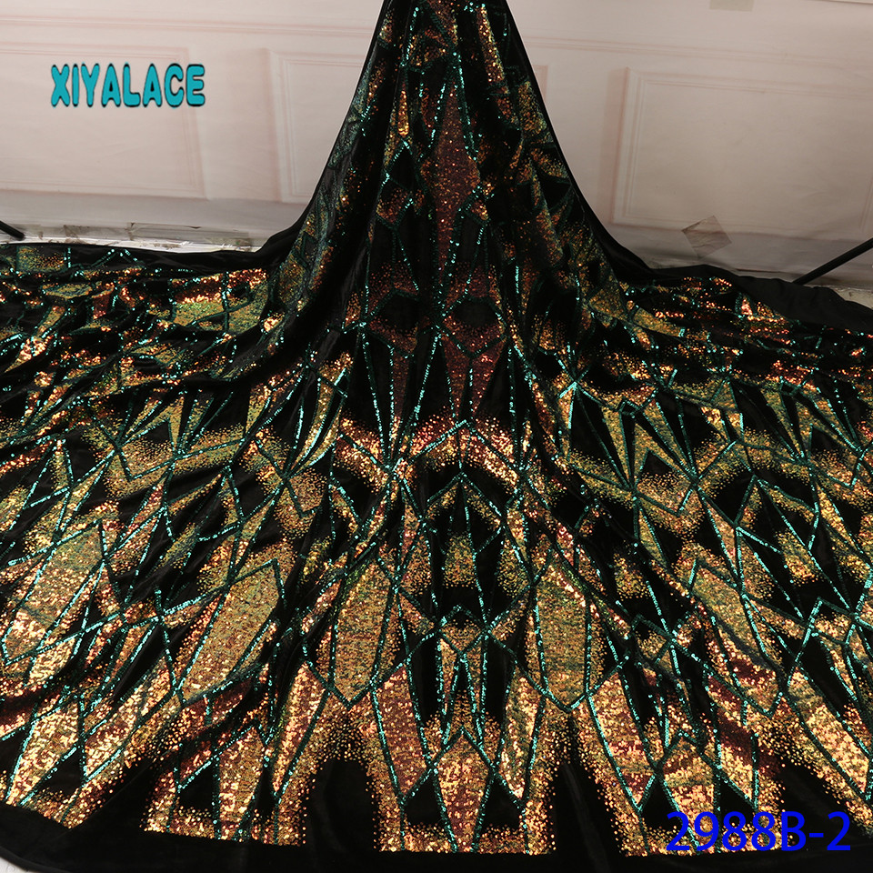 African Lace Fabric Latest French Sequins Green Lace Fabric Voile Lace For Wedding Party Embroidery Nigerian Lace YA2988B-2