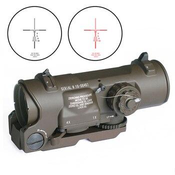 Тактический прицел для винтовки 1x-4x фиксированный оптический прицел двойного назначения подсвеченный красным точечным прицелом для стрел...