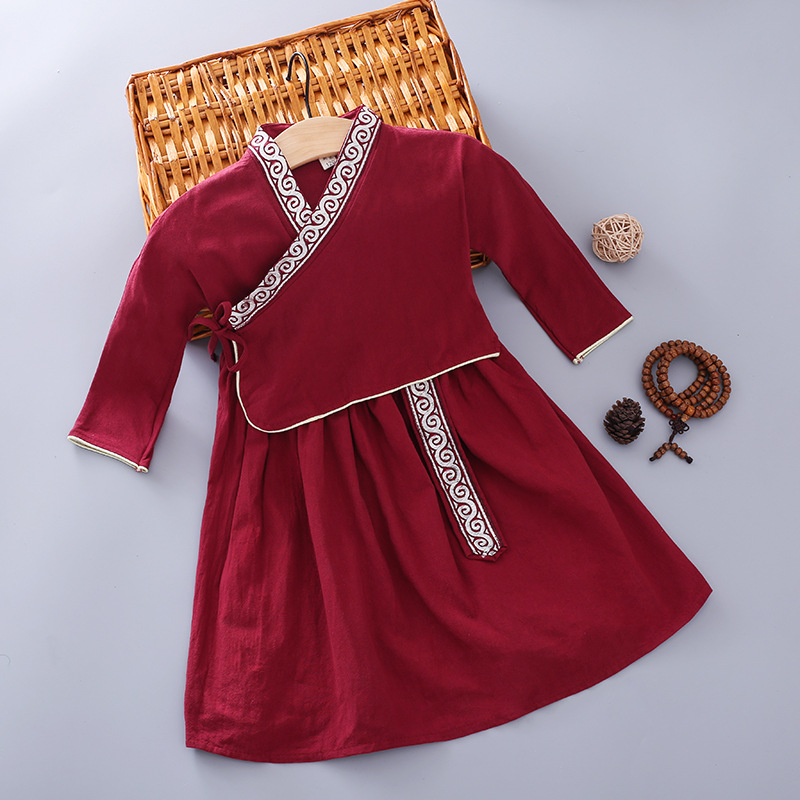 Children Chinese Clothing 2019 Spring Children Cute Traditional Classic Ethnic-Style Comfortable Washing Cotton Linen Girls Chin
