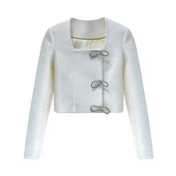 Abrigo corto de tweed con lazo de diamantes de imitación elegante vintage de lujo de marca a la moda para mujer