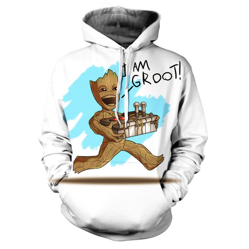 Image 3 - 2019 Guardians of the Galaxy Groot Men Hoodies Sweatshirts 3D Printed Funny Hip Hop Hoody Streetwear Pullover Hooded Men Tops-in Hoodies & Sweatshirts from Men's Clothing