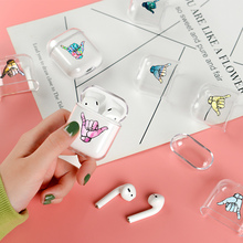 Soft Cute Air Pods Case For Apple Airpods Case Luxury Devil Satan Gesture Air Pods Case For Airpods 2 Transparent Soft Cover