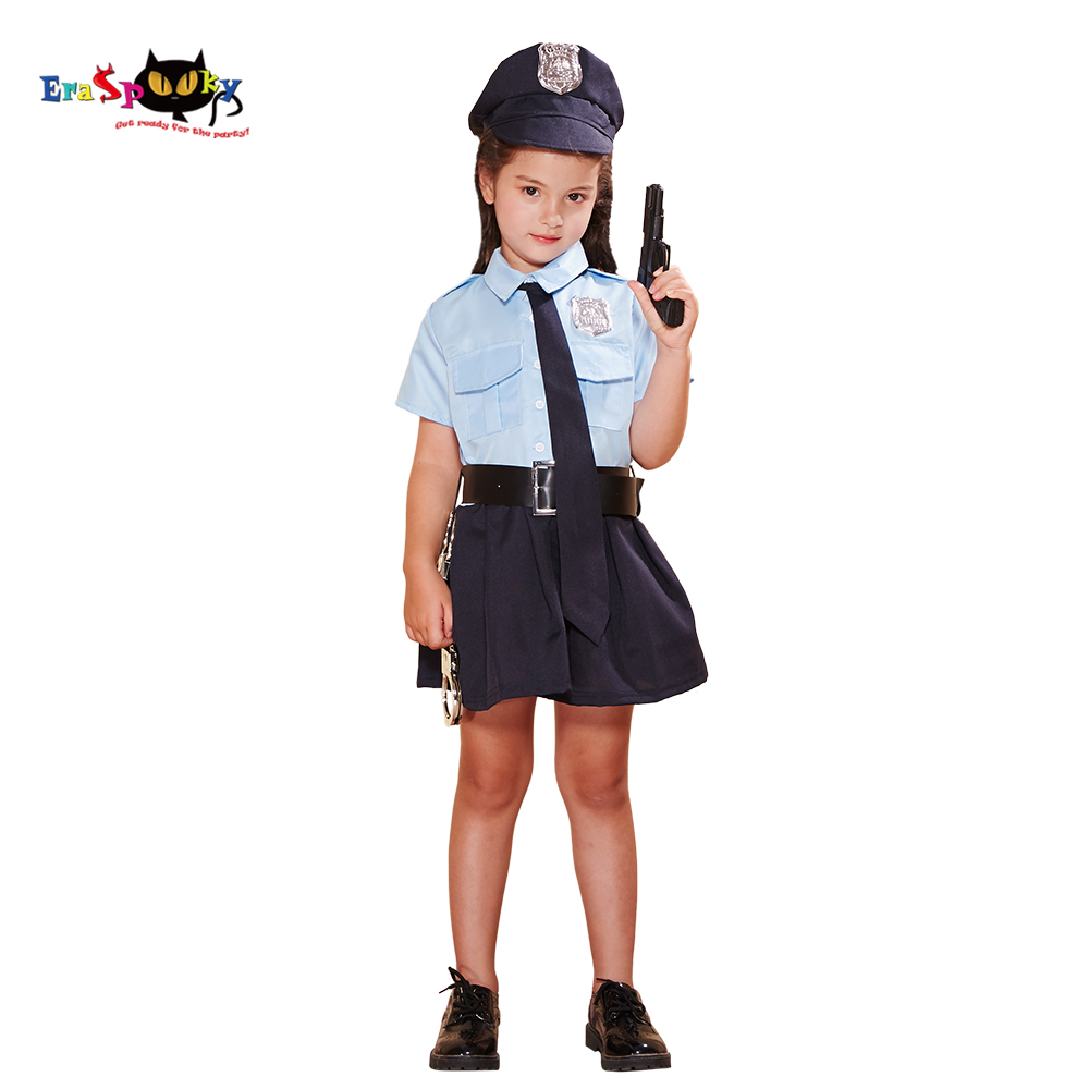 Eraspooky Girls Police Dress Cosplay Cop Role Play Uniform Halloween costume For Kids Police Officer Carnival Party Outfit Props