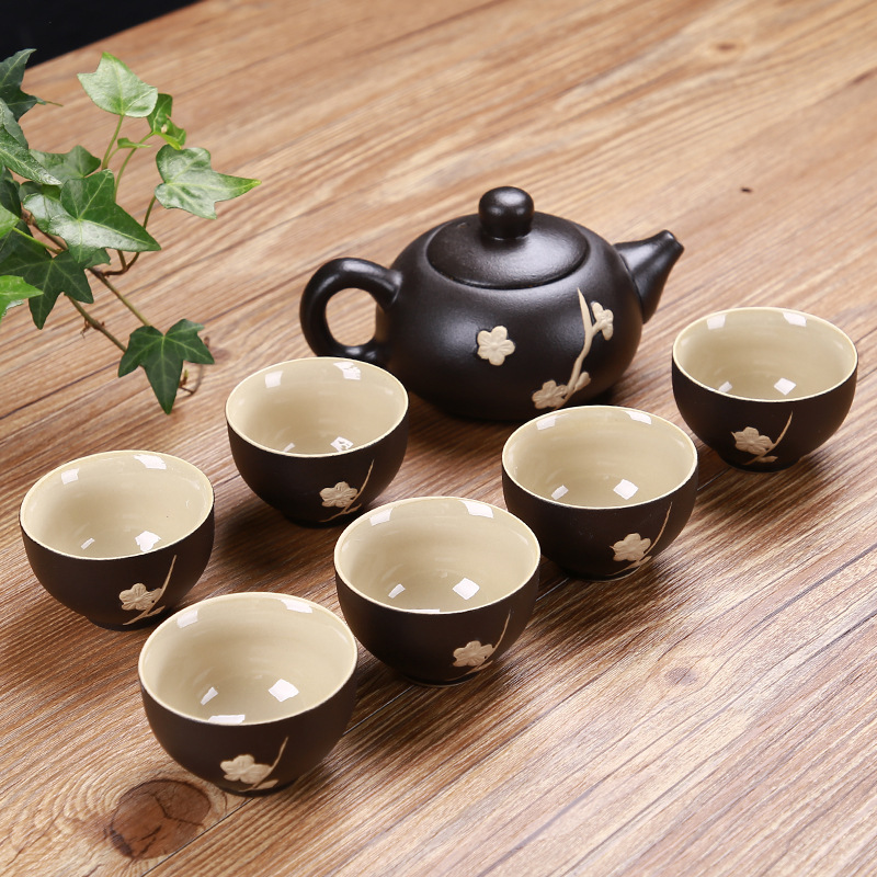 7Pcs/Set China Kung Fu Tea Set Gifts Drinkware Tea Cup Ceremony Gaiwan Tea Table Accessories Plum Blossom Teapot Coffee Cup