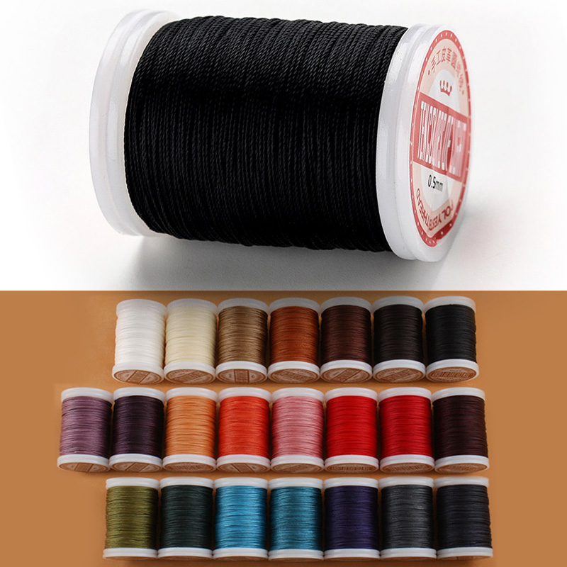 WUTA 1Pcs 120 Meter 0.45mm Round Waxed Leather Craft Thread Polyester Hand Sewin