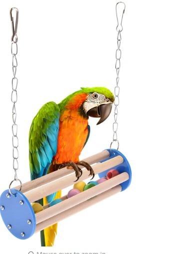 Pet Bird Chew Toy Station Parrot Ring Ring Hanging Swing Cage Toy Parrot Pet Bird Supplies Bird Toys