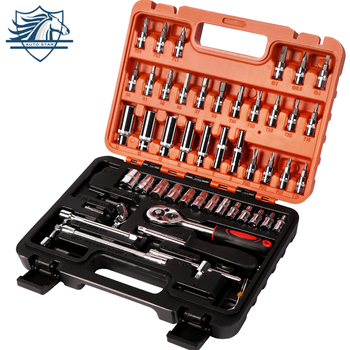 53pcs Spanner Socket Set 1/4 Screwdriver Ratchet Wrench Set Kit Car Repair Tools Combination Hand Tool Set feita torque wrench set activities ratchet gears flexible open end bike spanner car repair tools 8 9 10 11 12 13mm 1pc
