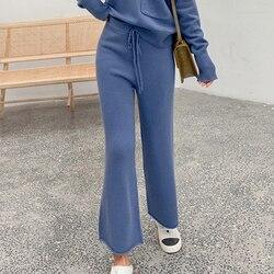 Женские брюки 100% кашемировые трикотажные леггинсы 2019 Зимние новые модные 2 цвета свободные стильные длинные женские брюки
