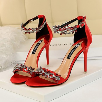 9cm High Heels Crystal Sandal Stiletto Satin Strap Heels  3