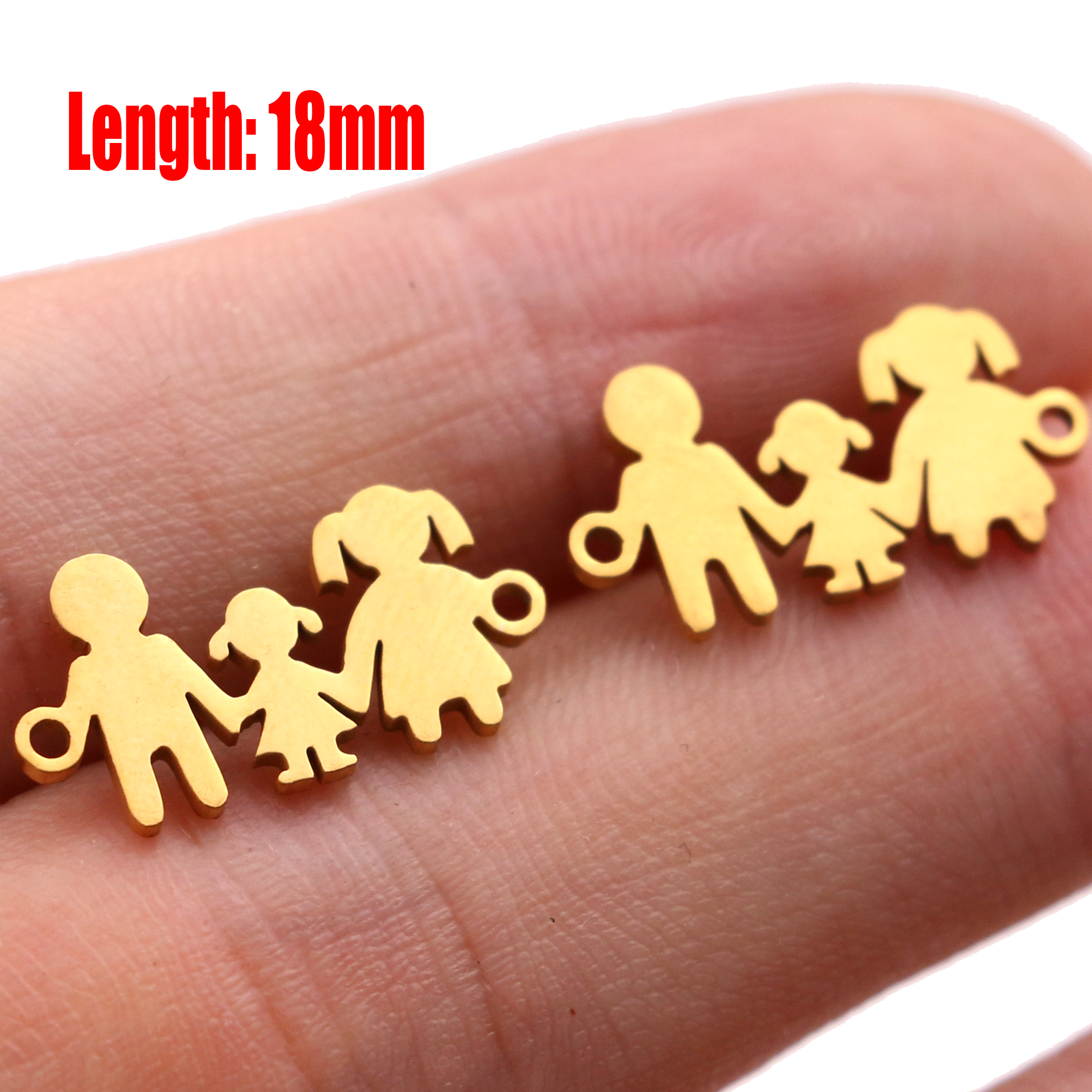 5pcs Family Chain Stainless Steel Pendant Necklace Parents and Children Necklaces Gold/steel Jewelry Gift for Mom Dad New Twice - Цвет: Gold 19
